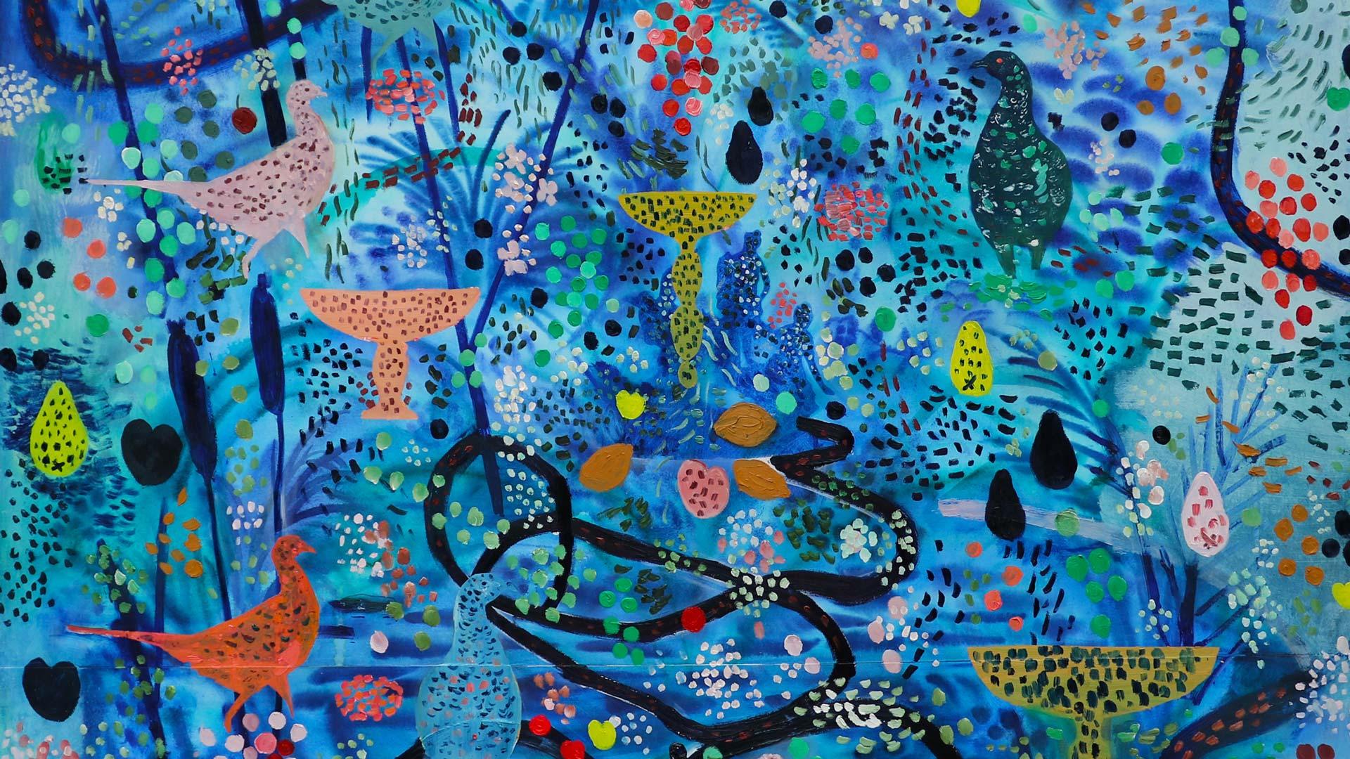 Satu Rautiaisen maalaus: Lintujen ruokintapaikka