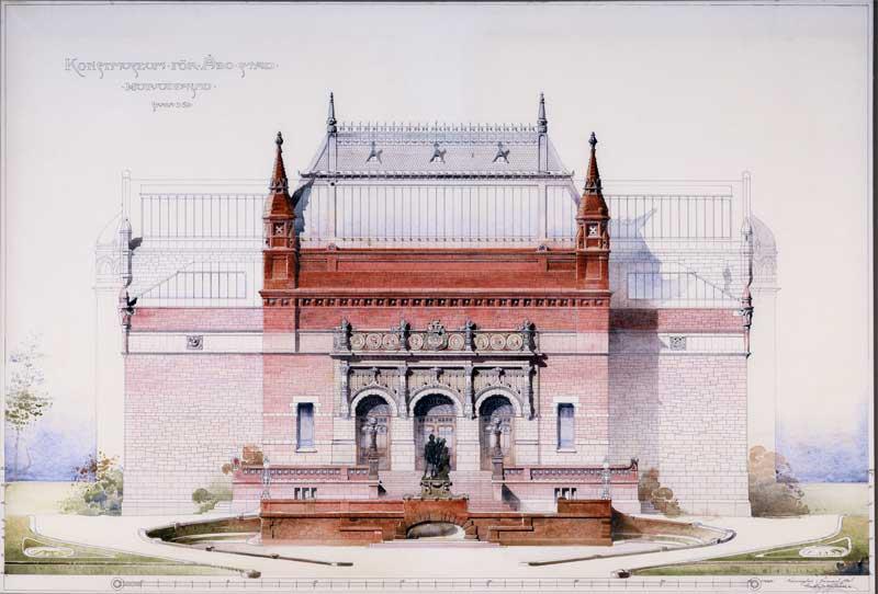 Gustaf Nyströmin suunnittelema Turun taidemuseo rakennuspiirroksissa.
