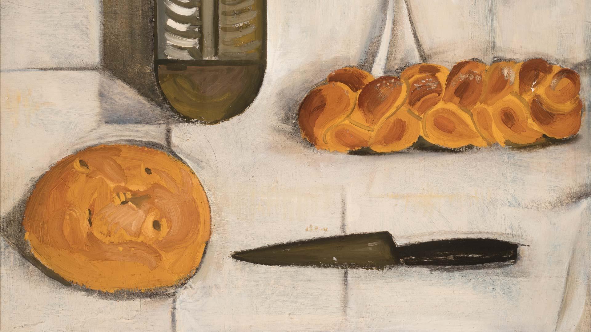 Kauko Lehtisen maalaus Leipiä pöydällä